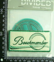 2 x BEACHMEMBER EMBROIDERED SOUVENIR PATCHES APPLIQUES WOVEN CLOTH SEW-ON BADGE