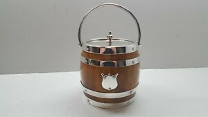 HC & Co 1930s Silver Plate and Oak Ice Bucket.