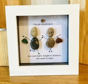 True Friends Pebble Art Sea Glass Frame Picture