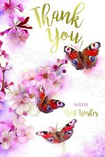 Thank You With Best Wishes Thankyou Bright Flowers & Butterflies Design Card