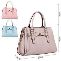 Pretty Designer Faux Leather Pastel Pink Blue Bow Tote Handbag Bag
