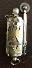 OLD VTG ANTIQUE JAPAN TRENCH ART BRASS LIGHTER HAND MADE METAL SMOKING MAN CAVE
