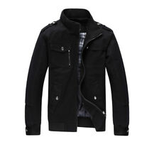 Men's Casual Cotton Military Bomber Jacket Slim Stand Collar Zipper Outwear Coat