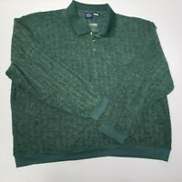 John Blair Men's 4XL XXXX Long Sleeve Green Retro Long Sleeve Pullover Shirt