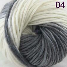 SALE NEW Chunky Colorful Hand Knitting Scores Wool Yarn Light Grey White Blue