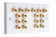 9.0 Audio AV Audio Speaker Wall Plate White Gold 18 Binding Posts Non-Solder