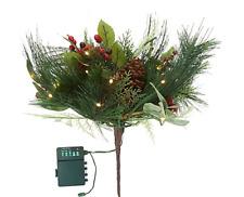 """19"""" Bethlehem Lights Green and Pinecones Urn Filler"""