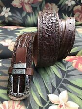 Nocona men's brown size 32 ranger leather belt with silver toned buckle