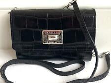 Brighton Mingle Medium Tech Leather Wallet Black Silver Hardware Retired