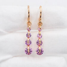 Round Mystic Topaz Long Dangle Earrings 18K Yellow Gold Filled Fashion Pink