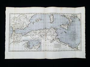 1785 ZANNONI: North Africa, Spain, Gibraltar, Sicily, Sardinia Mediterranean Sea