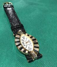 Vintage Ladies Watch Black Leather Band Xanadu White Black Crystals