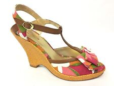 Poetic Licence Behave Yourself Tropical Floral Retro T-strap Wedges / Women's 10
