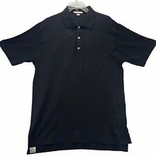 Peter Millar Men's Short Sleeved Polo Shirt Size L Large Black 100% Cotton
