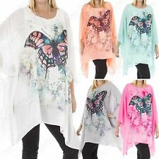 NEW LADIES CHIFFON OVERSIZE BUTTERFLY PRINT BLOUSE TOP WOMEN BATWING KIMONO LOOK