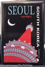 "Seoul Vintage Travel Poster 2"" X 3"" Fridge / Locker Magnet. South Korea"