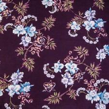 A Japanese Hawaiian Print, Blue, Lavender & White Pua on Eggplant,Per 1/2 Yd