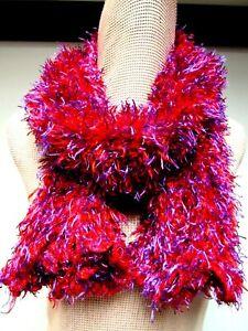 Chenille Fuzzy 3 x 56 Long Scarf Tubular Long Eyelash Yarn Red Purple Korea