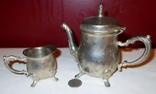 Vintage Silverplate Personal TEA SERVICE FOR ONE TEAPOT WITH CREAMER ^