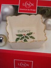 """Lenox """"Holiday"""" Candy Dish Square W/Scalloped Edges & """"Believe"""" Printed Inside"""
