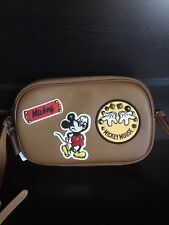 NWT Coach Crossbody Pouch Glove Calf Leather W/ Mickey Patches Saddle F59532