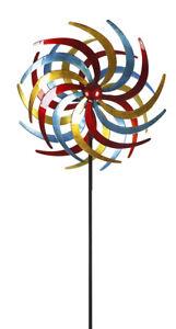 XXL Doppelwindrad Windrad Garten Dekoration Windspiel Metall 210 cm Ø 61 cm