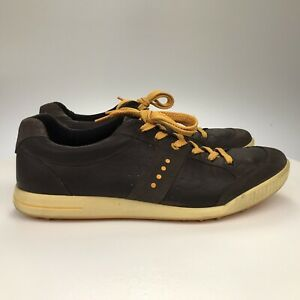 Men's 13-13.5 47 Ecco Street Premiere Brown Leather Spikeless Golf Shoes Orange