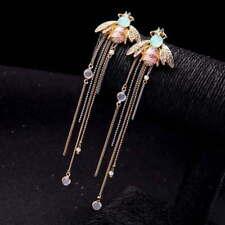 "Betsey Johnson Gold Pink Striped Enamel Green Crystal Bee Very Long 5"" Earrings"