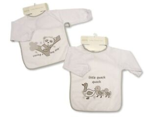 Large Long Sleeved Baby Bibs Unisex with PEVA back - Single or 2-Pack - 754