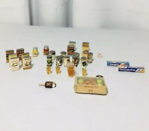 Vintage 1970's Dollhouse Tiny Food Lot Boxes Fruit Ice cream Drinks