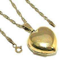 Ladies/womens 9ct yellow gold heart shaped locket on a long singapore chain