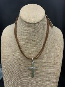 Barse Puebla Cross Necklace- Turquoise & Leather- Sterling Silver- NWT
