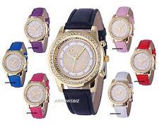 Embellished Diamond Rhinestone Analog Wristwatch Watch PU Leather Strap UK Stock