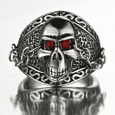 silver skull ring crystal stainless steel us 13 extra large red eyes