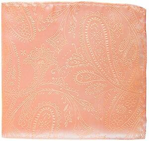 New Men's Polyester Woven pocket square hankie only peach paisley prom wedding