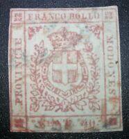 ANTICHI STATI Modena 1859 40 cent n.17d varietà cert. Biondi cat. 4.000 euro