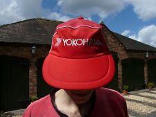 YOKOHAMA PEAKED CAP HAT AUTHENTIC,  RED WITH WHITE PIPING, SIZE MEDIUM