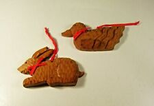 Lot of 2 Christmas Ornament Rabbit Duck Wood Brown Craved Textured Americana