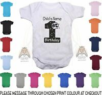 1st Birthday Baby Vest Personalised With Name Design 2 bodysuit