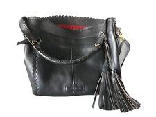 Isabella Fiore Black Leather Handbag Tote Purse