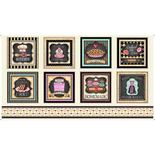 Home Sweet Home~QT FABRIC PANEL~8 squares~baking- sweets- retro-kitchen~26323-E