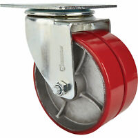 Strongway 8in Swivel Heavy-Duty Dual-Wheel Caster- 2,600lb Cap Pur/Steel