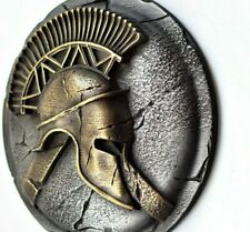 Spartan greek helmet and hoplite shield wall sculpture art rustic home decor