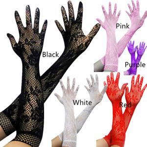 Women Wedding Bridal Bride Gloves Evening Party Dance Lace Finger Floral Long US