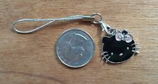Bn Black Hello Kitty Cell Phone Charm Silver Strap Lariat -