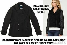 "NEW Black Classic Roxy ""Backstage"" Winter Jacket/Peacoaat (ARJK00017)-SZ-12/13-M"
