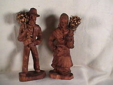 SIC French Hand Carved Old Man And Woman Gathering Wood From France