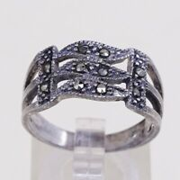 Size 9, Vtg Sterling Silver Handmade Ring, 925 Silver Band W/ Marcasite