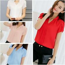 Lady Women's Formal Short Sleeve Shirt Office OL Work V Neck Blouse Wear Tops JJ