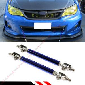 FOR MITSUBISHI EVO LANCER 7 8 9 X BLUE ADJUSTABLE FRONT BUMPER SPLITTER ROD TIES